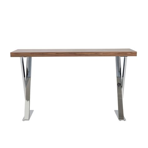 X Base Console Table X Base Console Table Walnut Chrome Affordably Modern Touch Of Modern