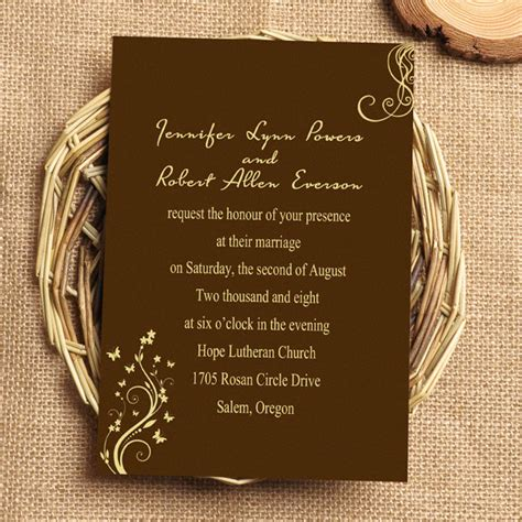 Brown Wedding Invitations by Chocolate Brown Vine Wedding Invitation Iwi043 Wedding
