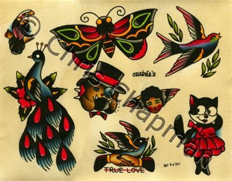peacocks n butterflies n shakers tattoo flash