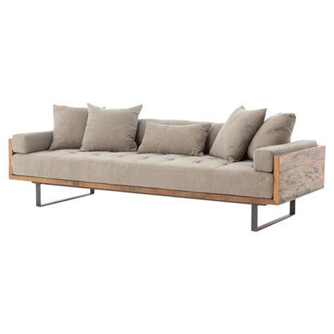 industrial style sofa lloyd industrial lodge taupe tufted cushion wood frame sofa