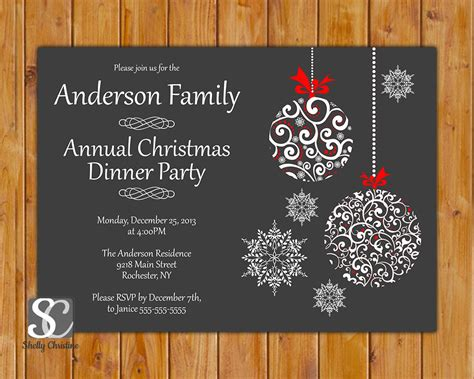 christmas dinner celebration annual party invitation by