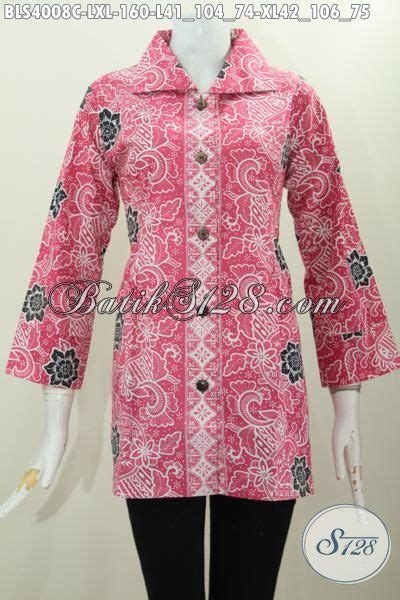 desain baju batik yang cantik blus batik merah jambu desain berkelas proses cap yang