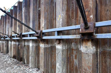 timber sheet pile wall retaining walls steel piling