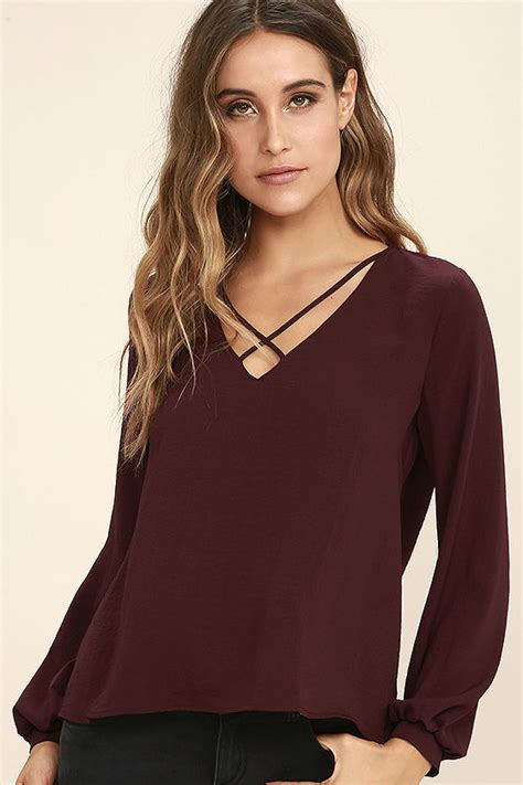 V Maroon Top by Chic Burgundy Top Sleeve Top Blouse V Neck Top
