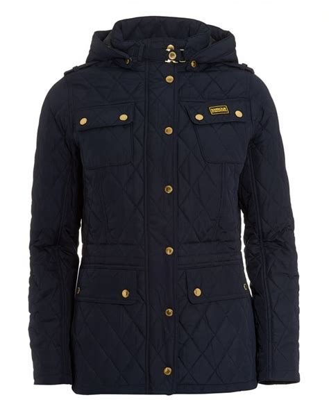 Womens Blue Quilted Jacket by Barbour International Womens Absorber Parka Jacket Navy