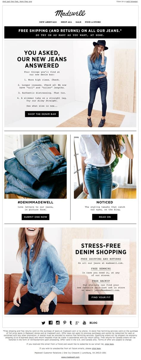 fashion design with marketing madewell newsletter you asked for them new jeans