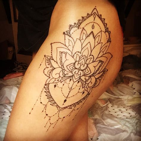 newest tattoo linework mandala hip tattoo thigh tattoo