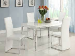 White Dining Room Sets by Homelegance Clarice 5 Piece Dining Room Set In Gloss White