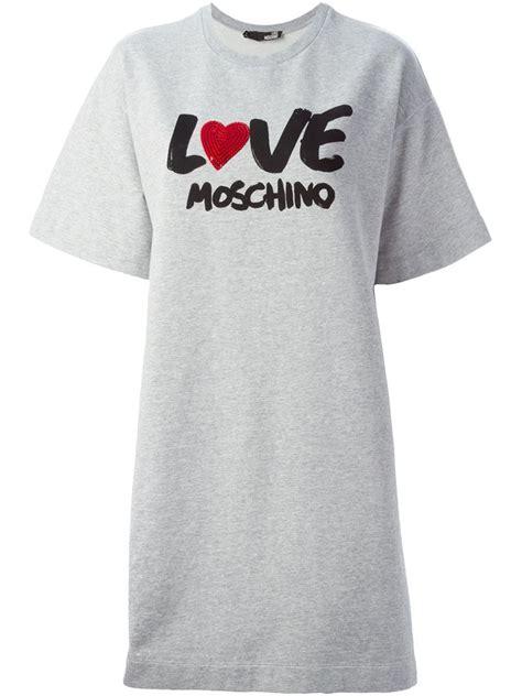Moschino Tshirt lyst moschino t shirt dress in gray