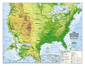 geographic map of the united states physical usa education grades 4 12 laminated
