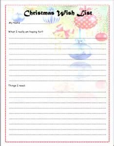Wish List Template Printable by Printable Wish List Template Sles Vlcpeque