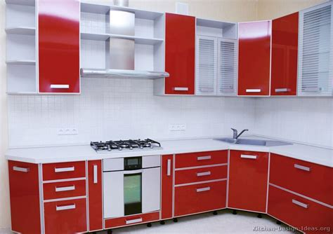 red kitchen with white cabinets pictures of kitchens modern red kitchen cabinets page 2
