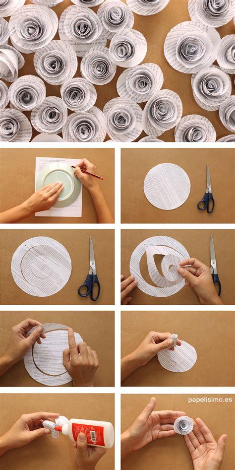 confeccion de flores de papel pediodico flores papel de peri 243 dico reciclado paso a paso papelisimo