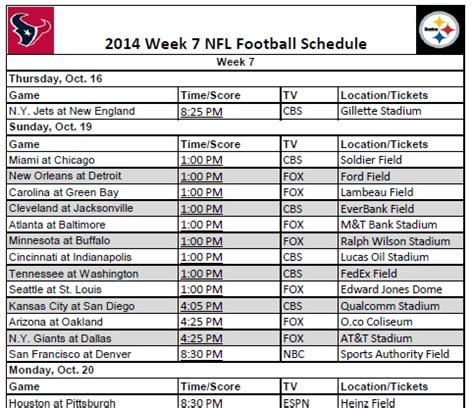 printable nfl schedule for week 7 printable 2014 nfl week 7 schedule