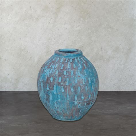blue pattern vase rustic blu v 16 in distressed decorative vase in light