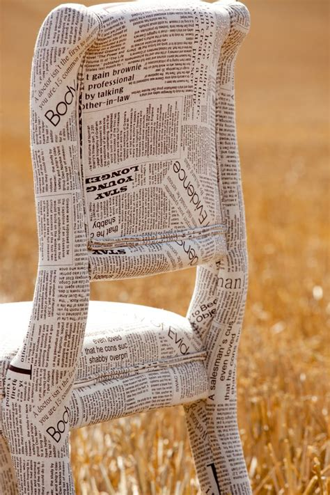 Decoupage Fabric On Wood - newspaper fabric chair could actually papier mache
