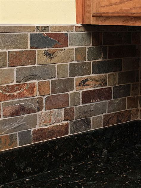 brown slate mosaic backsplash tile for traditional