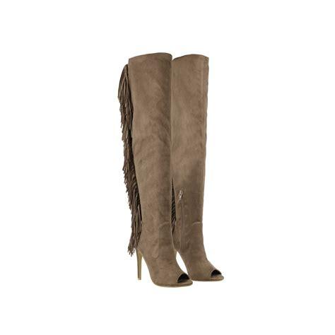 black suede fringe back thigh high peep toe high heel