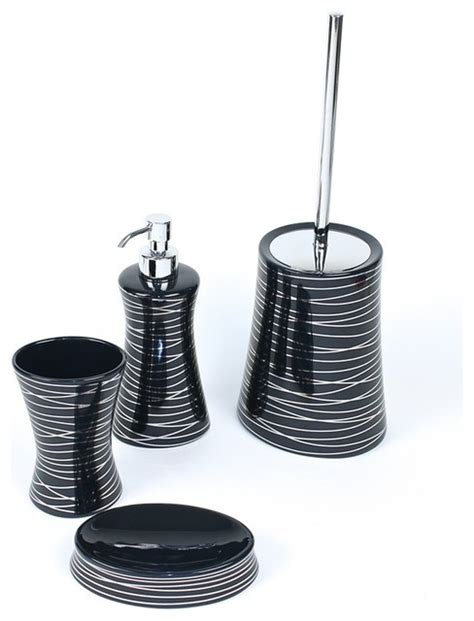 anthracite silver decorative bathroom accessory set