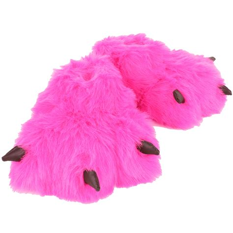 funky slippers pink novelty padded faux fur fluffy funky