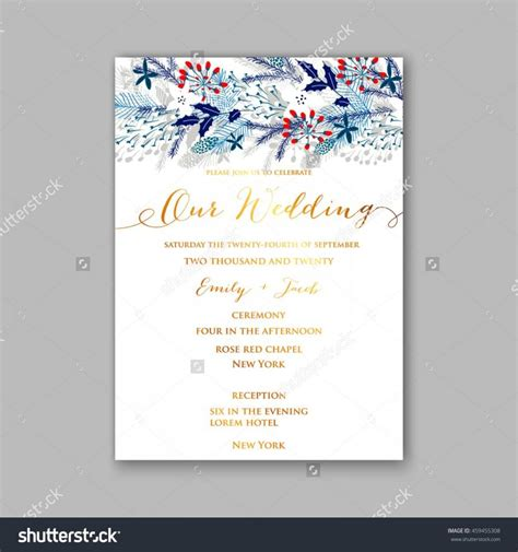floral wedding invitation with winter christmas wreath