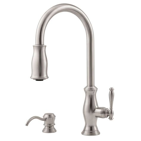 kitchen faucets stainless steel pfister hanover 1 handle pull kitchen faucet with