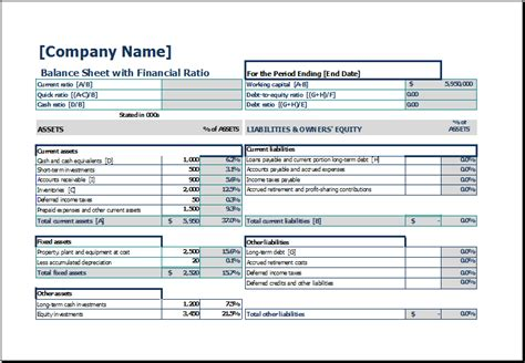 balance sheet with financial ratio excel templates