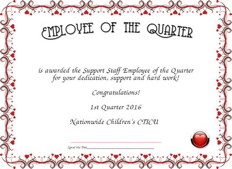 employee of the quarter certificate created with