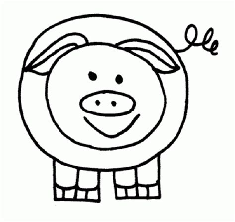 simple pig coloring page easy pig drawing coloring home