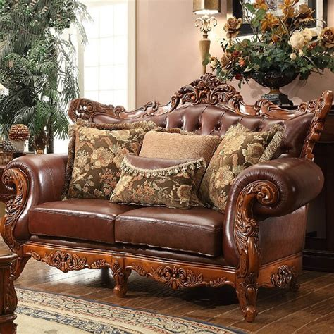 european style living room furniture wood and leather sofa set great leather and wood sofa