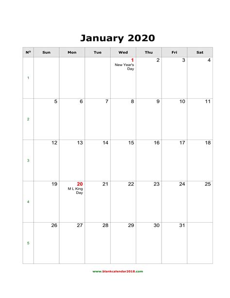 blank monthly holidays calendar  portrait