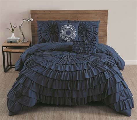 king ruffle comforter avondale manor sadie 5pc circle ruffle comforter king