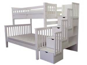 Twin Bed With Stairs by White Twin Over Full Bunk Bed With Stairs Home Design Ideas