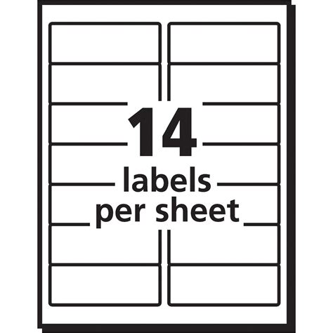 template for labels 14 per sheet avery white easy peel address labels
