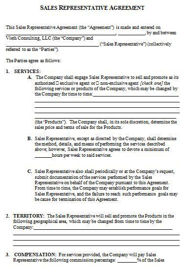 sales consultant contract template sales representative contract agreement template how to