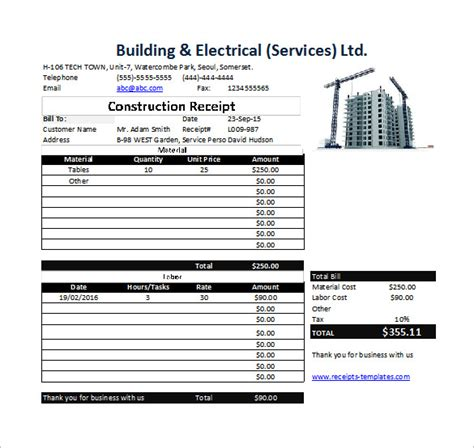 Receipt Format In Excel by Construction Receipt Template 15 Free Sle Exle
