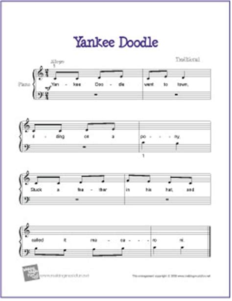 yankee doodle how to play on piano yankee doodle free beginner piano sheet