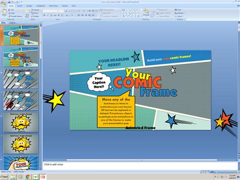 powerpoint comic template powerpoint your comic frame presentation template