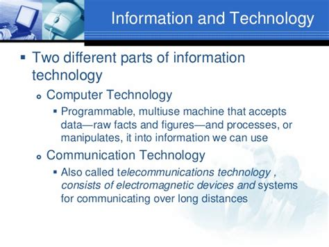 Application For Information Technology by Introduction To Information Technology Lecture 1