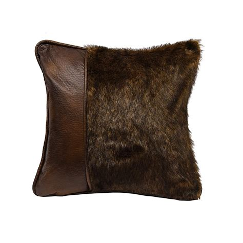 Faux Leather Pillows Sale by Fur Pillow With Faux Leather Findley Lake Trading Co