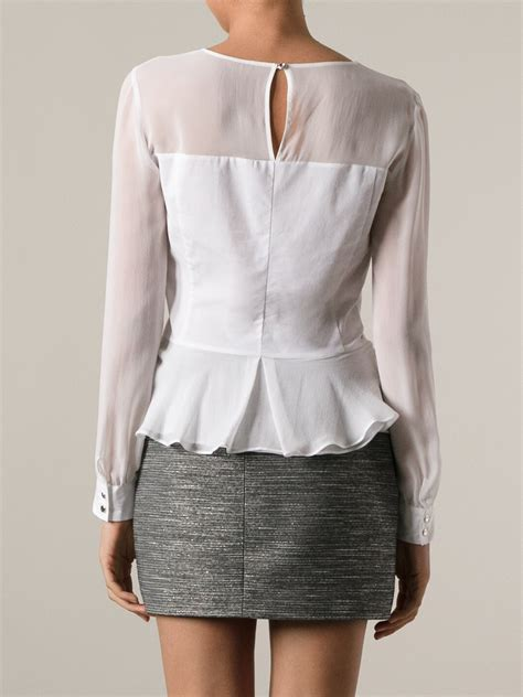 White Peplum Blouse pinko peplum blouse in white lyst