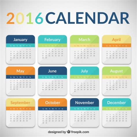 Kalender 2016 Namen Colored 2016 Calendar Vector Premium