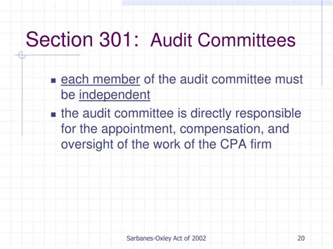 Section 302 Of The Sarbanes Oxley Act by Ppt Sarbanes Oxley Act Of 2002 Powerpoint Presentation