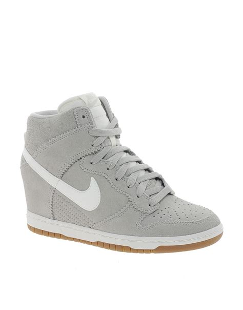 grey sneaker wedges nike nike dunk sky high gray wedge sneakers at asos