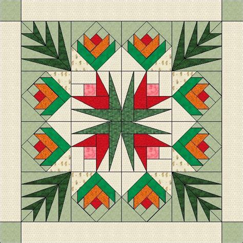 Paper Piecing Patchwork - flowers and palm leaves paper pieced quilt pattern