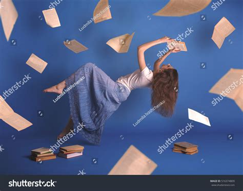 fly magic in your books surreal creative design levitation flying stock