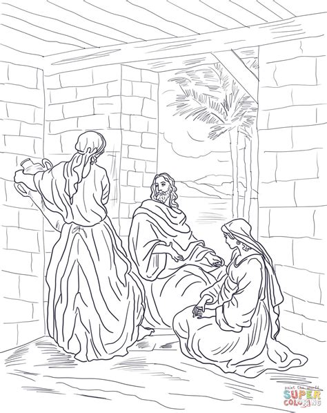 coloring pages jesus mary and martha jesus visits mary and martha coloring page free