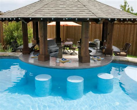outdoor kitchen designs with pool pool other side of bar be bar stools at same height but clearer view without the