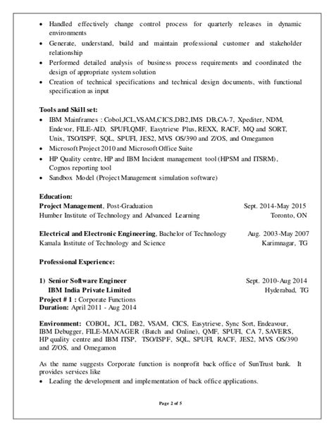 sle resume for 2 years experience in mainframe muralikrishna rathipelli resume june 23nd mainframe developer
