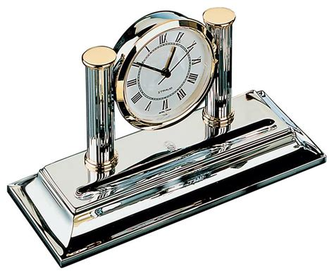 El Casco Chrome Plated Desk Clock Pens De Luxe Online Shop El Casco Desk Accessories